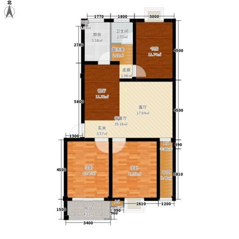康城明珠花园3室1厅1卫1厨131.00㎡户型图