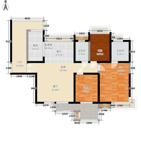 中海华庭3室0厅2卫1厨148.00㎡户型图