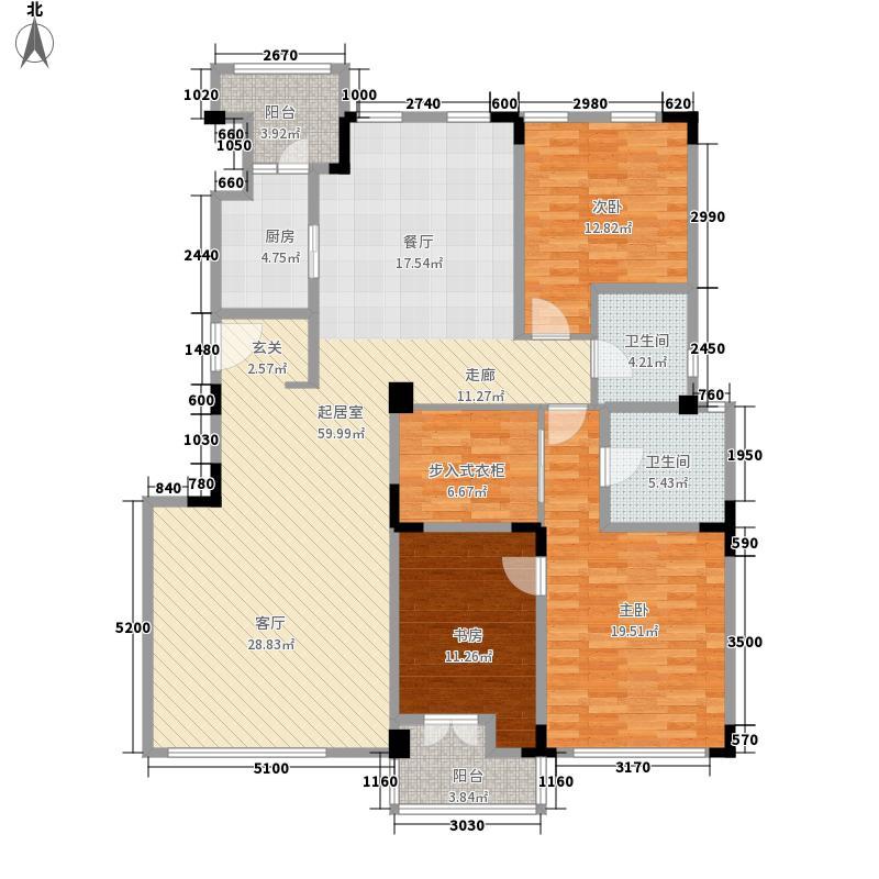 71墅166.00㎡洋房4、11号楼标准层户型