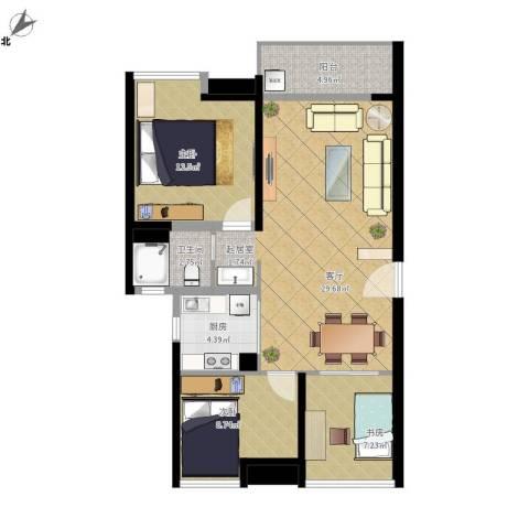 金地朗悦3室1厅1卫1厨100.00㎡户型图
