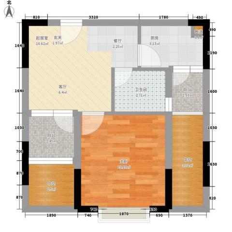 东方新天地大厦1室0厅1卫1厨44.00㎡户型图