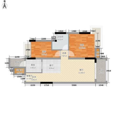 汇泰锦城2室1厅1卫1厨72.00㎡户型图