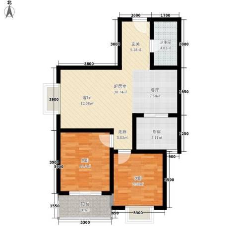 安诚御花苑2室0厅1卫1厨92.00㎡户型图