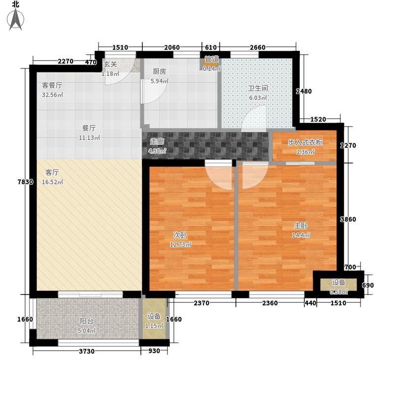 东方明珠海上御园91.66㎡六期45号楼F户型