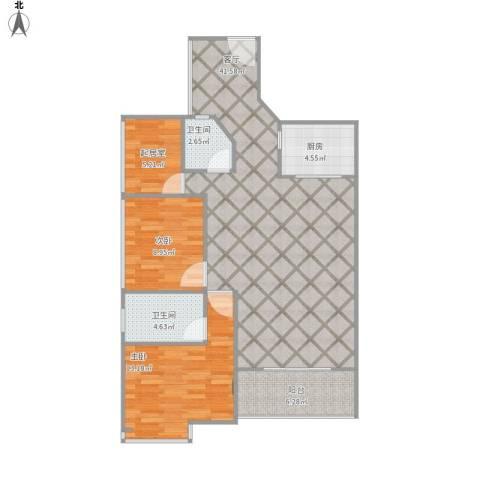 汇龙湾花园2室1厅2卫1厨117.00㎡户型图