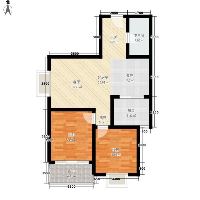 安诚御花苑92.27㎡B区2#楼1单元标准层F12室户型