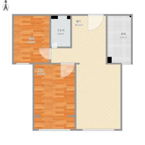 君悦东山2室1厅1卫1厨79.00㎡户型图