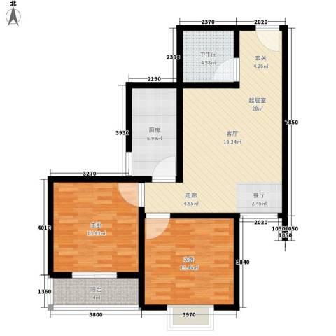 子午美居2室0厅1卫1厨81.00㎡户型图