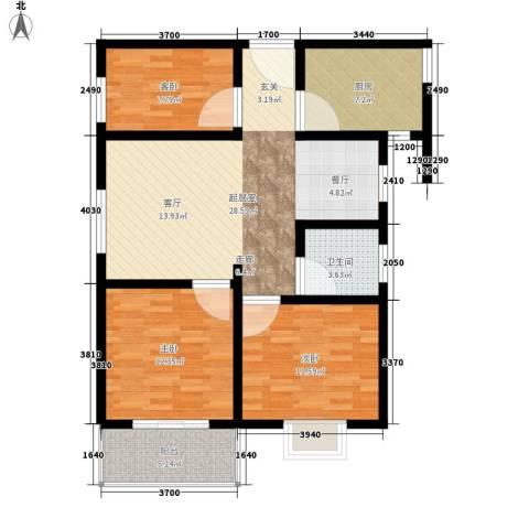 子午美居3室0厅1卫1厨88.00㎡户型图