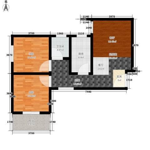 子午美居2室0厅1卫1厨82.00㎡户型图