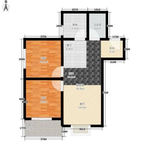 子午美居2室0厅1卫1厨89.00㎡户型图