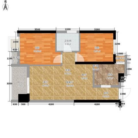 东城国际2室1厅1卫1厨77.00㎡户型图