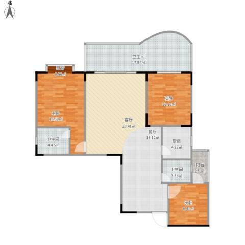 天一华府3室1厅3卫1厨149.00㎡户型图