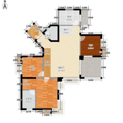 金元国际新城3室1厅2卫1厨154.00㎡户型图