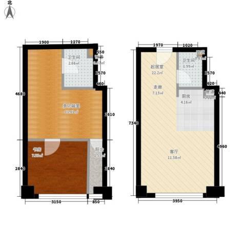中海八里臺1室0厅2卫0厨57.00㎡户型图
