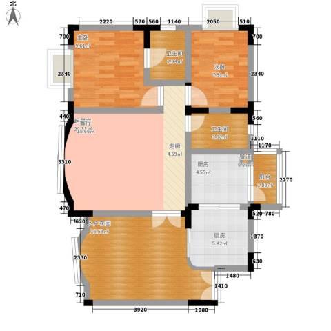 水木青华2室0厅2卫2厨83.00㎡户型图