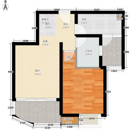 尚阳康城1室1厅1卫1厨62.00㎡户型图