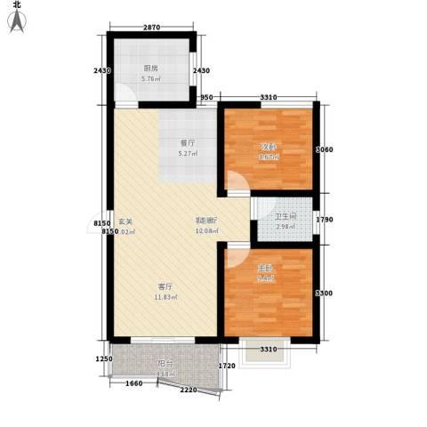 水木青华2室1厅1卫1厨88.00㎡户型图