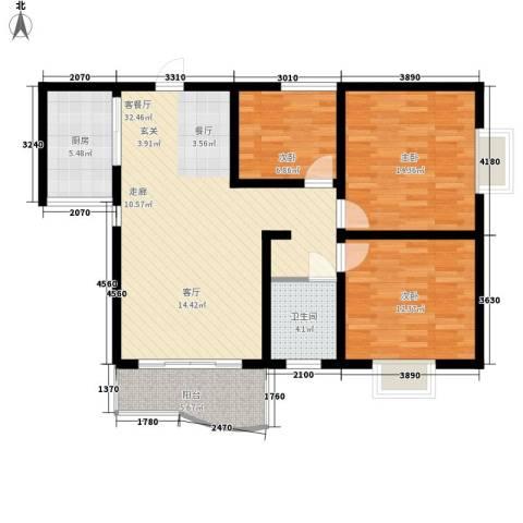 水木青华3室1厅1卫1厨116.00㎡户型图
