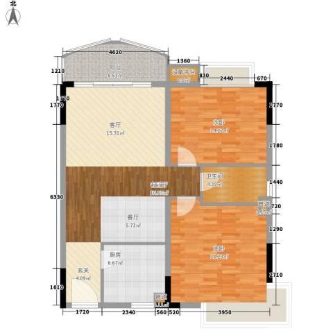 大山住宅区2室1厅1卫1厨97.00㎡户型图