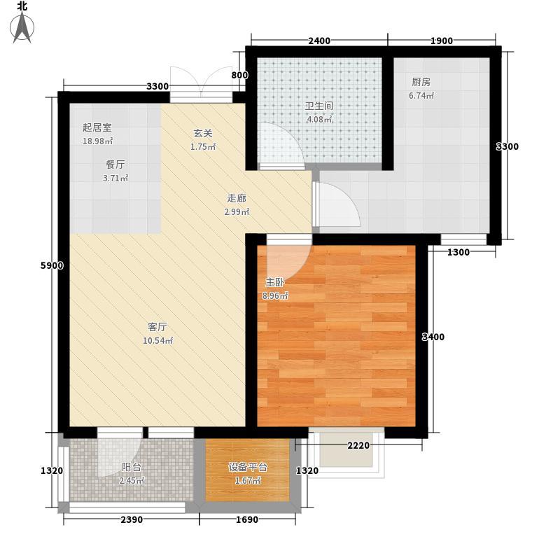 五矿旷世新城66.04㎡A3户型 一室二厅一卫户型1室2厅1卫