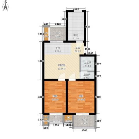 东华锦绣家园2室0厅1卫1厨85.00㎡户型图
