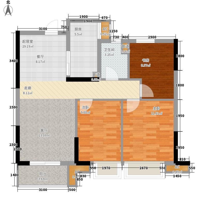 佳兆业西溪璞园90.00㎡高层B户型2室2厅1卫