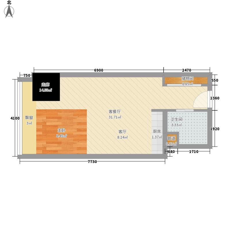 英利国际广场38.60㎡一期2号楼标面积3860m户型