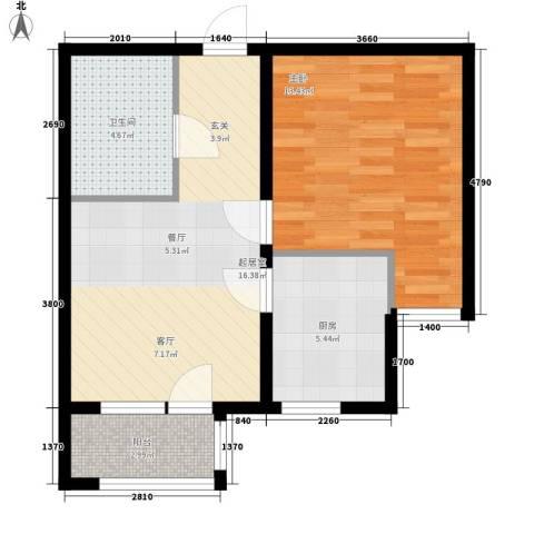 巴黎河谷巴黎阳光1室0厅1卫1厨49.00㎡户型图