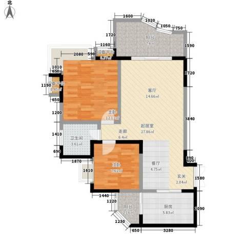 同创米兰天空2室0厅1卫1厨70.00㎡户型图