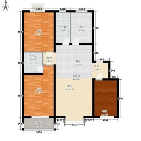 金水豪庭3室0厅2卫1厨123.00㎡户型图