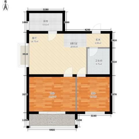 金水豪庭2室0厅1卫1厨68.00㎡户型图