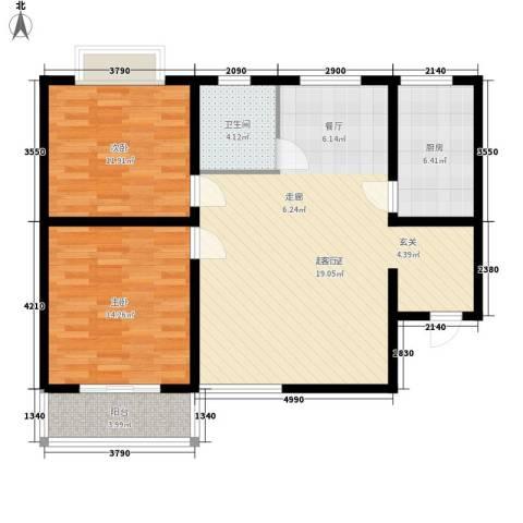 金水豪庭2室0厅1卫1厨87.00㎡户型图