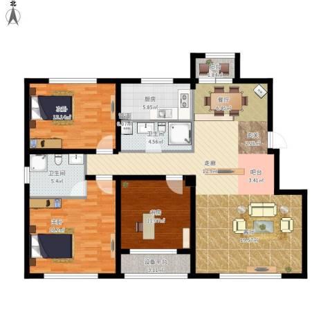 大禹褐石公园3室1厅2卫1厨150.00㎡户型图