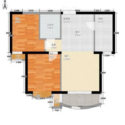 东方渔人码头2室0厅1卫1厨81.00㎡户型图