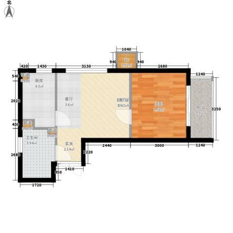 东方渔人码头1室0厅1卫1厨52.00㎡户型图
