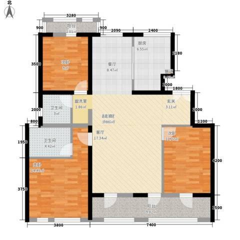 航天小区3室0厅2卫1厨110.00㎡户型图
