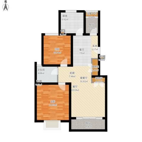 浦江颐城尚院2室1厅1卫1厨110.00㎡户型图