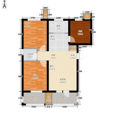 新华里188号3室0厅1卫1厨109.00㎡户型图