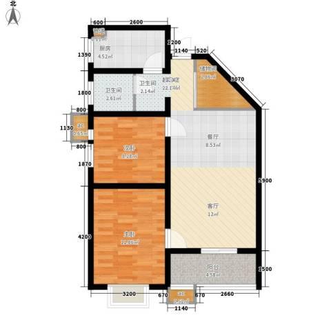 美丽的院子2室0厅1卫1厨91.00㎡户型图