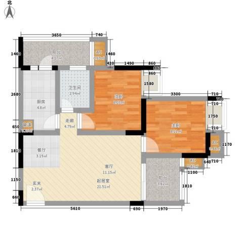 大鼎世纪滨江2室0厅1卫1厨58.00㎡户型图