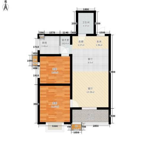 美丽的院子2室0厅1卫1厨92.00㎡户型图