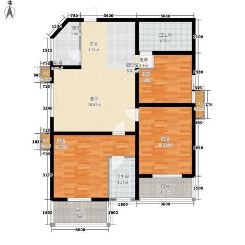 美丽的院子3室0厅2卫1厨144.00㎡户型图