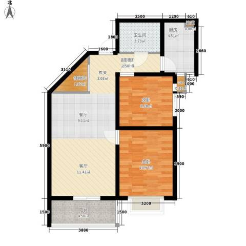 美丽的院子2室0厅1卫1厨94.00㎡户型图
