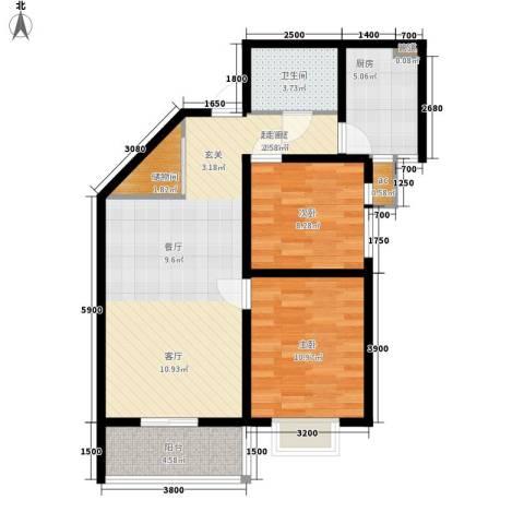 美丽的院子2室0厅1卫1厨95.00㎡户型图