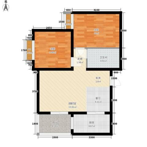 美丽的院子2室0厅1卫1厨77.00㎡户型图