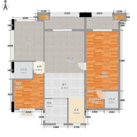 含光雨露花园2室0厅2卫1厨140.00㎡户型图