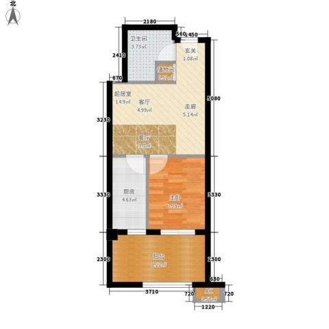 凤城国际1室0厅1卫1厨59.00㎡户型图