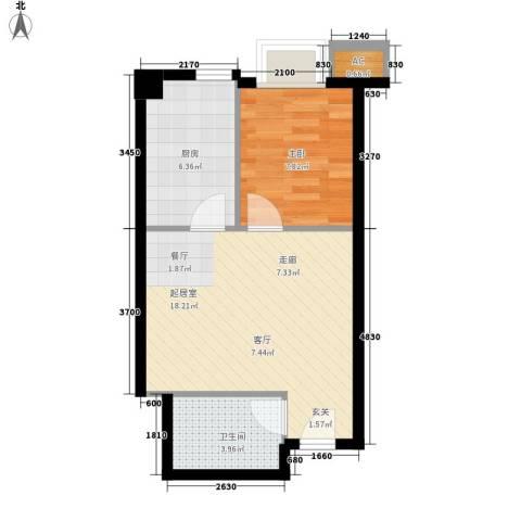 凤城国际1室0厅1卫1厨53.00㎡户型图