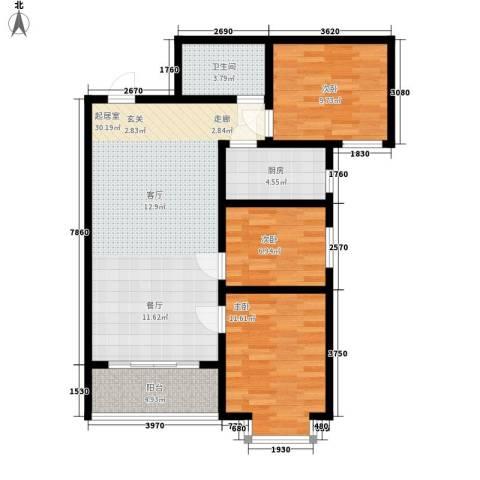 玄武新城3室0厅1卫1厨84.00㎡户型图
